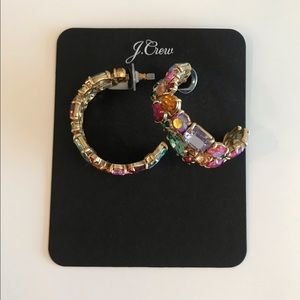 J. Crew Multicolor Crystal Cluster Hoop Earrings